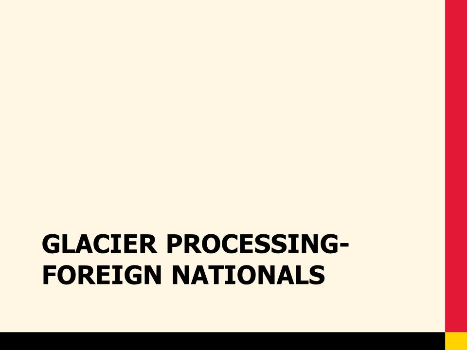 Glacier- Renewal Process FSPR – Notify Dept PR Reps by e-mail regarding the details of the renewal process and deadline – Review all Glacier packets – Send required forms/documents to USM before deadline – Send a spreadsheet to HRSC for any Visa Type changes for the upcoming year