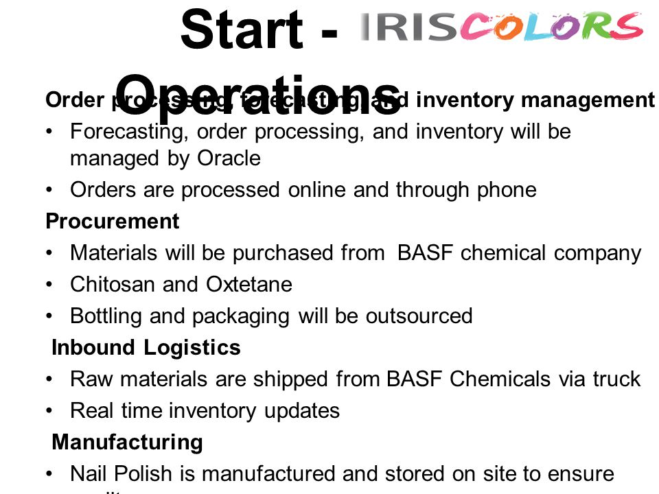 Start - Operations Order processing, forecasting, and inventory management Forecasting, order processing, and inventory will be managed by Oracle Orders are processed online and through phone Procurement Materials will be purchased from BASF chemical company Chitosan and Oxtetane Bottling and packaging will be outsourced Inbound Logistics Raw materials are shipped from BASF Chemicals via truck Real time inventory updates Manufacturing Nail Polish is manufactured and stored on site to ensure quality Stored in large containers until shipping to bottlers