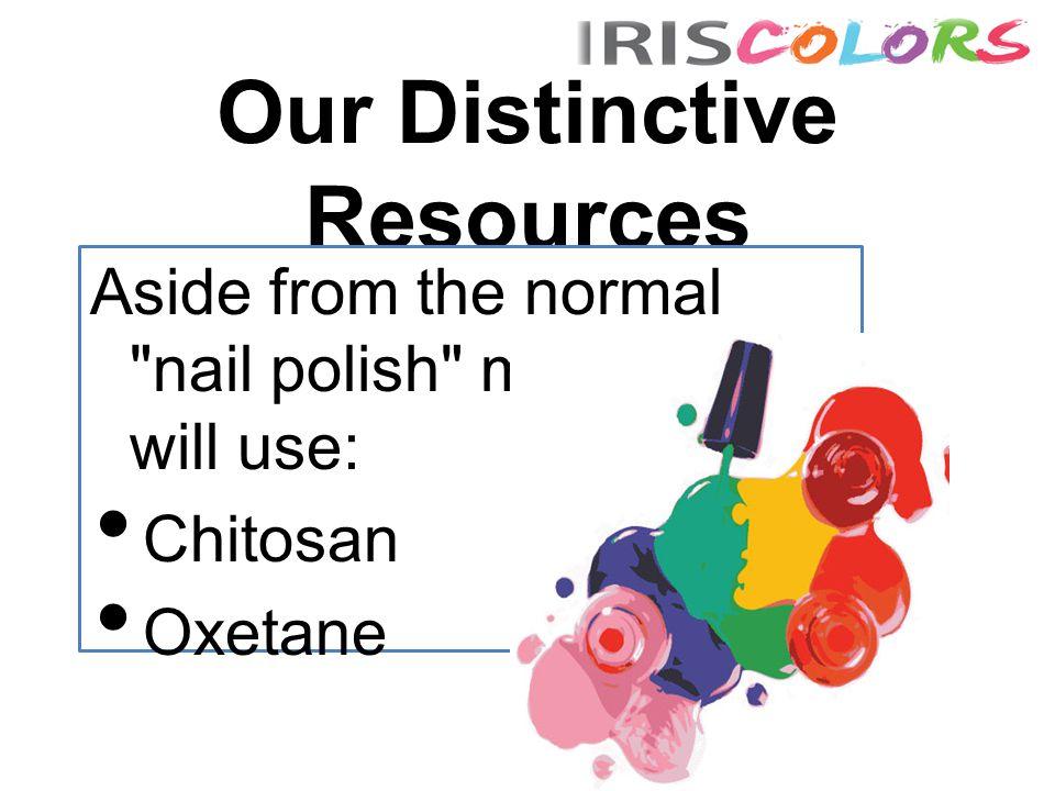 Our Distinctive Resources Aside from the normal nail polish mixtures we will use: Chitosan Oxetane