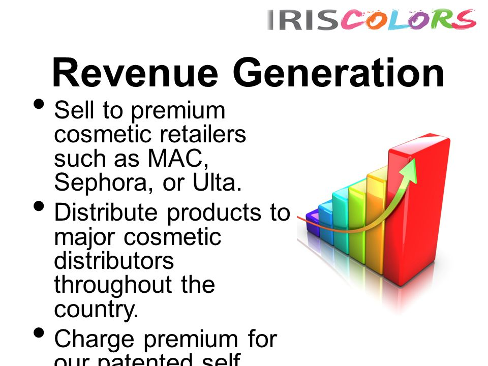 Revenue Generation Sell to premium cosmetic retailers such as MAC, Sephora, or Ulta. Distribute products to major cosmetic distributors throughout the