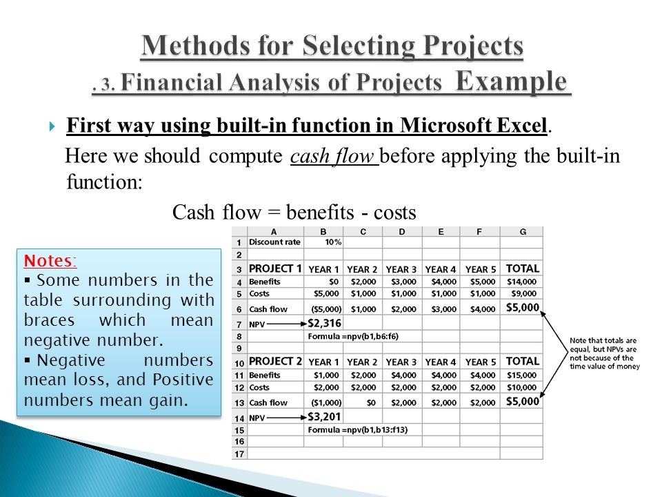  First way using built-in function in Microsoft Excel. Here we should compute cash flow before applying the built-in function: Cash flow = benefits -