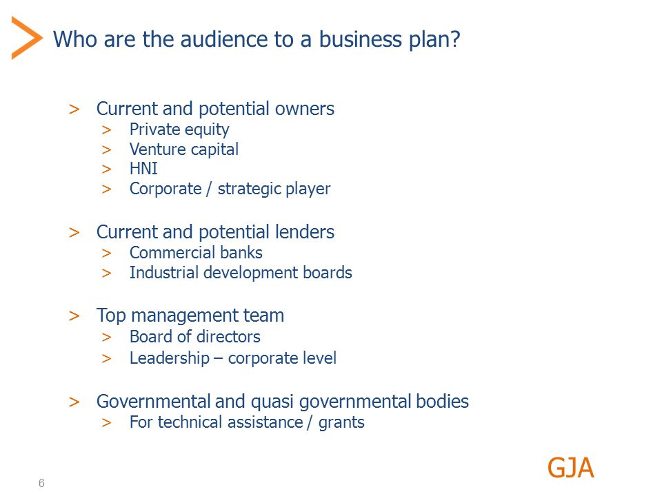 6 Who are the audience to a business plan.