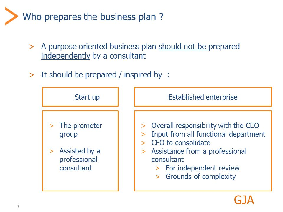 8 Who prepares the business plan .