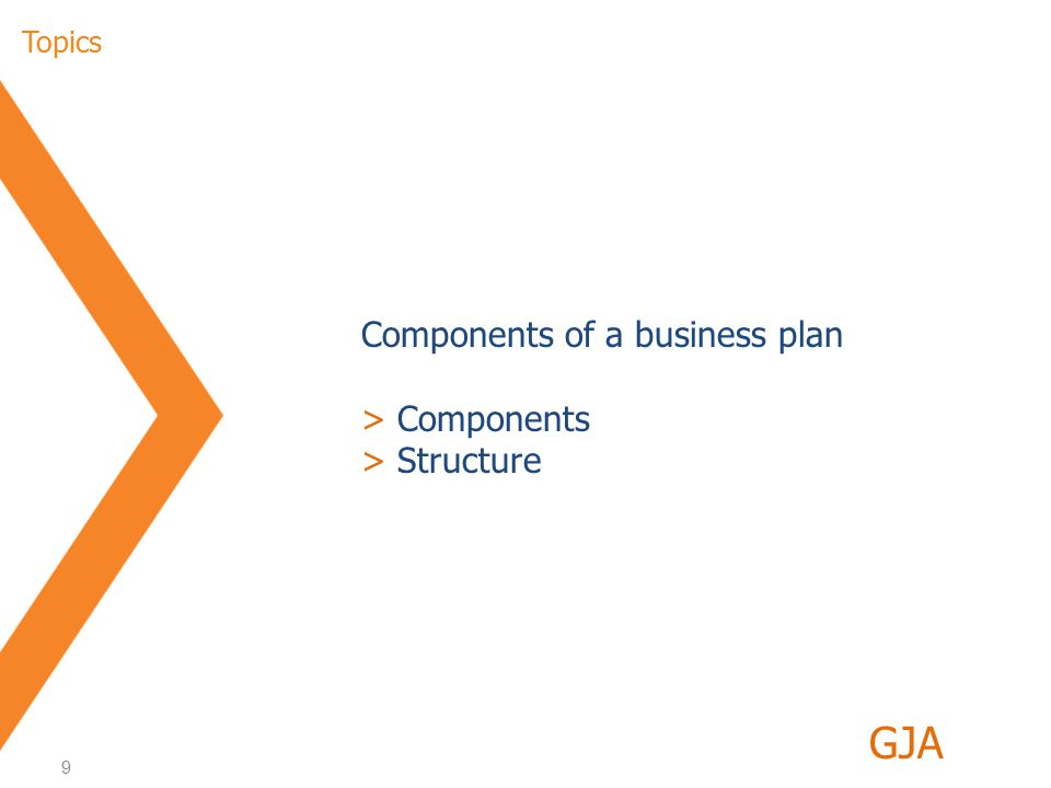 20 Structure of the business plan (9/9) > Financial plan (2/2) GJA >Financial plan - contents >Forecast >Indicators / KPIs >IRR >Payback period >Break even point >Summary of key ratios (one table) >Financial forecast >Income statement >Balance sheet >Cash flow statement >Capacity utilisation and quantities >Cost of sales >Working capital >Consumption >S,G&A expenses >Income tax 8