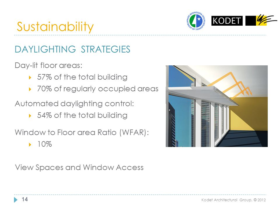 Sustainability 14 Kodet Architectural Group, © 2012 DAYLIGHTING STRATEGIES Day-lit floor areas:  57% of the total building  70% of regularly occupie