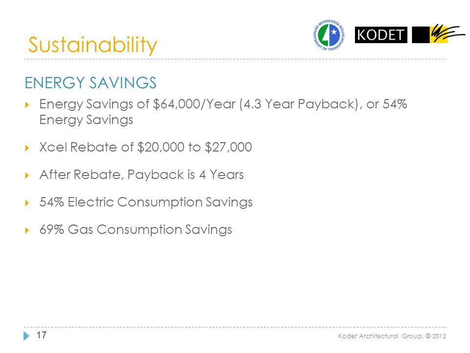 Sustainability 17 Kodet Architectural Group, © 2012 ENERGY SAVINGS  Energy Savings of $64,000/Year (4.3 Year Payback), or 54% Energy Savings  Xcel R