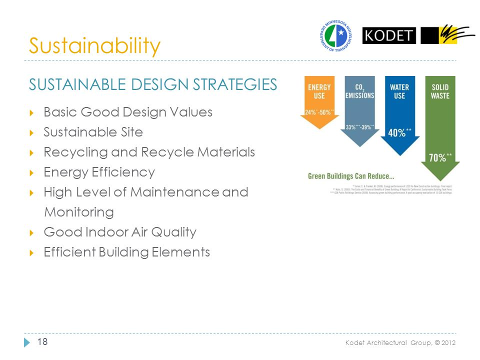 Sustainability 18 SUSTAINABLE DESIGN STRATEGIES  Basic Good Design Values  Sustainable Site  Recycling and Recycle Materials  Energy Efficiency 