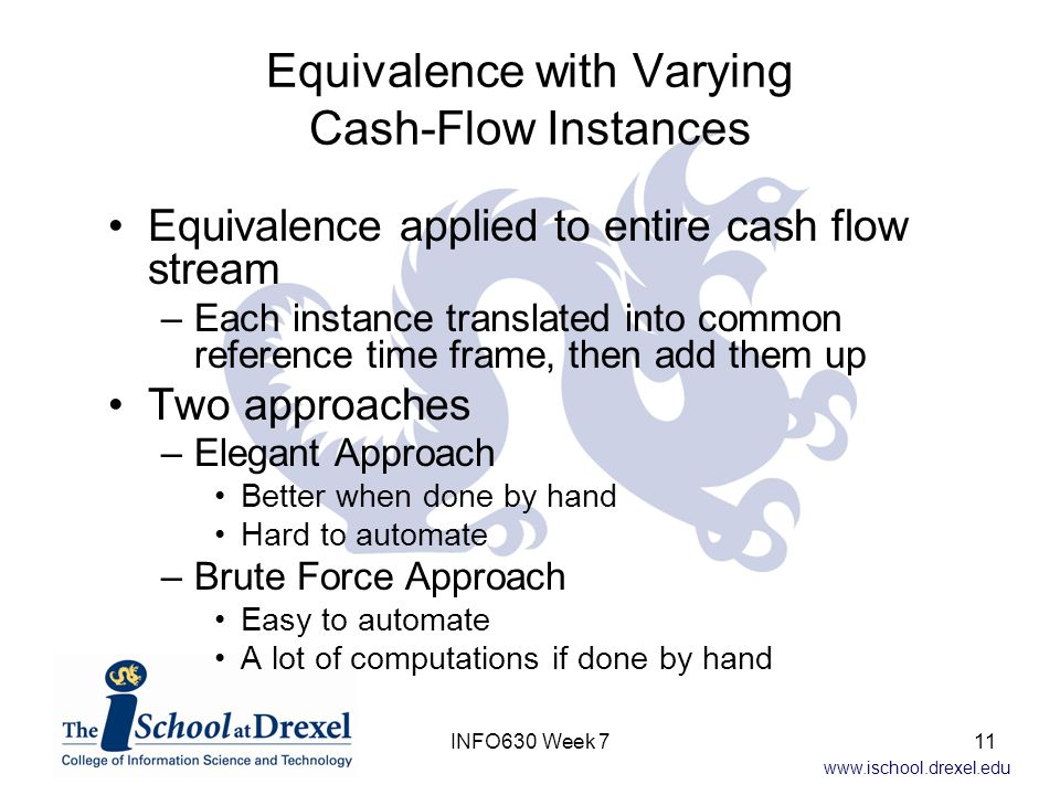 www.ischool.drexel.edu Equivalence with Varying Cash-Flow Instances Equivalence applied to entire cash flow stream –Each instance translated into common reference time frame, then add them up Two approaches –Elegant Approach Better when done by hand Hard to automate –Brute Force Approach Easy to automate A lot of computations if done by hand 11INFO630 Week 7
