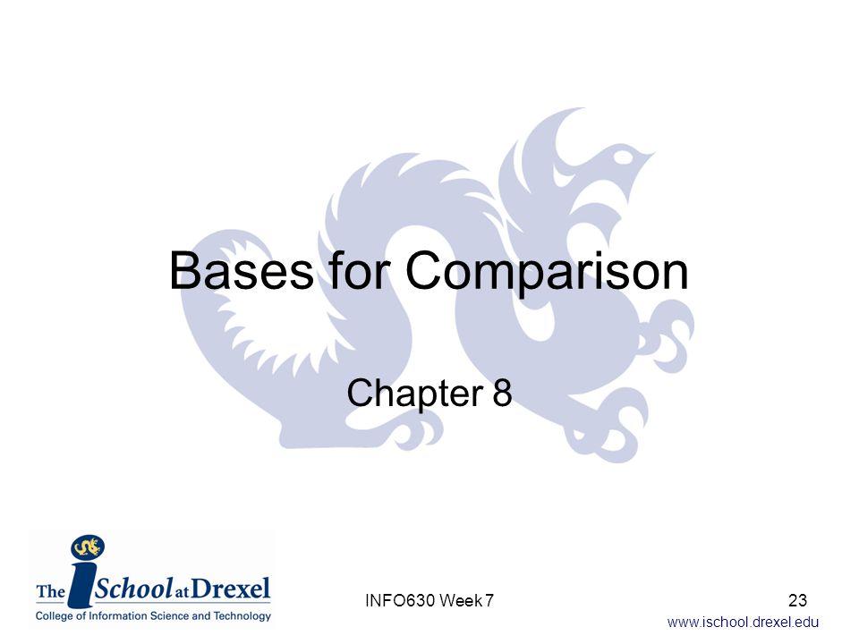 www.ischool.drexel.edu Bases for Comparison Chapter 8 INFO630 Week 723