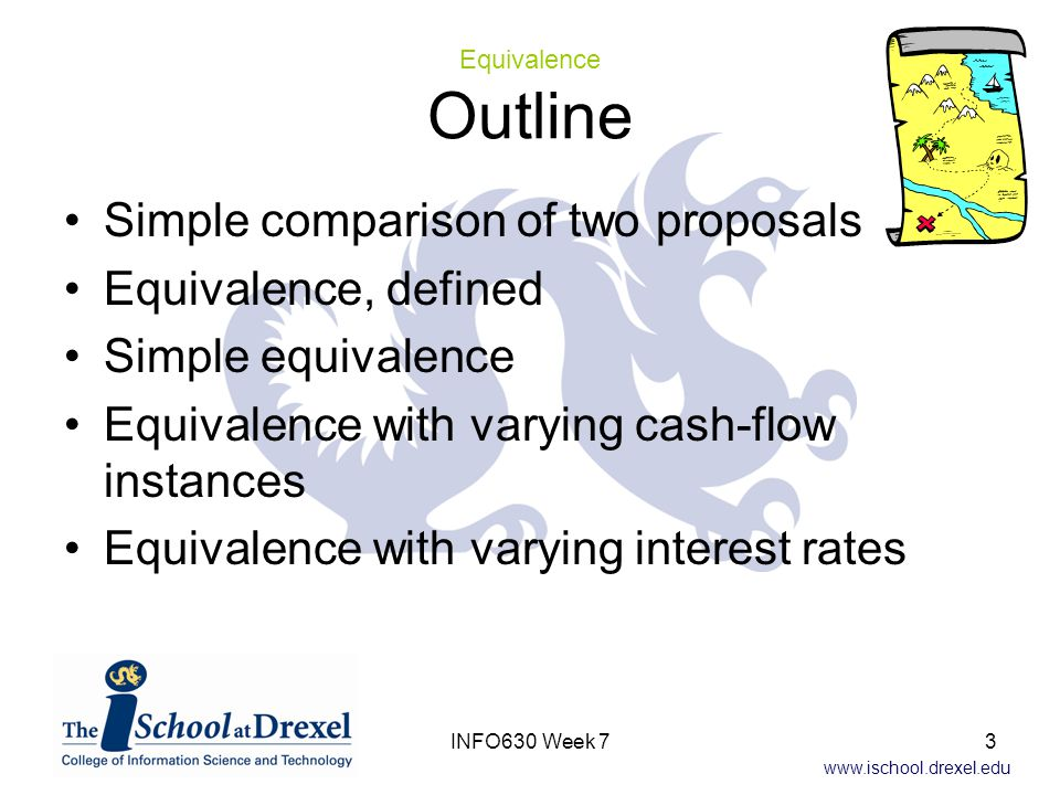 www.ischool.drexel.edu Basis for comparison defined An example Present worth Future worth Annual equivalent Internal rate of return Payback period Discounted payback period Project balance Capitalized equivalent amount Bases for Comparison Outline 24INFO630 Week 7