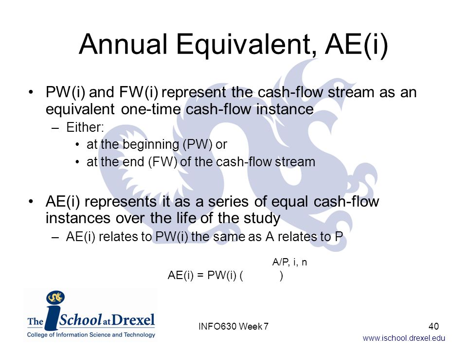www.ischool.drexel.edu Annual Equivalent, AE(i) PW(i) and FW(i) represent the cash-flow stream as an equivalent one-time cash-flow instance –Either: at the beginning (PW) or at the end (FW) of the cash-flow stream AE(i) represents it as a series of equal cash-flow instances over the life of the study –AE(i) relates to PW(i) the same as A relates to P A/P, i, n AE(i) = PW(i) ( ) 40INFO630 Week 7