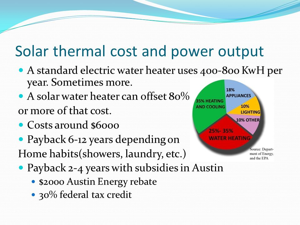 Solar thermal cost and power output A standard electric water heater uses 400-800 KwH per year. Sometimes more. A solar water heater can offset 80% or