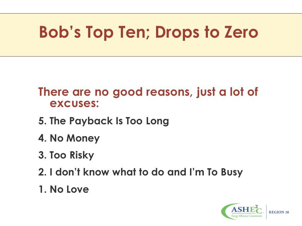 Bob's Top Ten; Drops to Zero There are no good reasons, just a lot of excuses: 5.