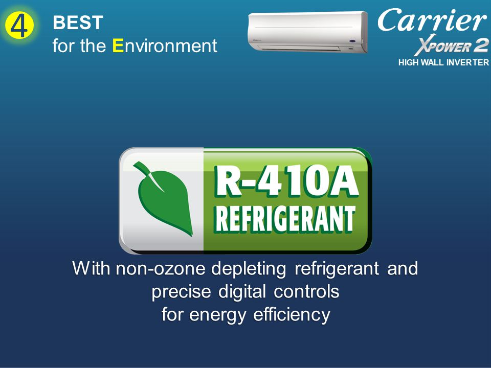 With non-ozone depleting refrigerant and precise digital controls for energy efficiency BEST for the Environment 4 HIGH WALL INVERTER