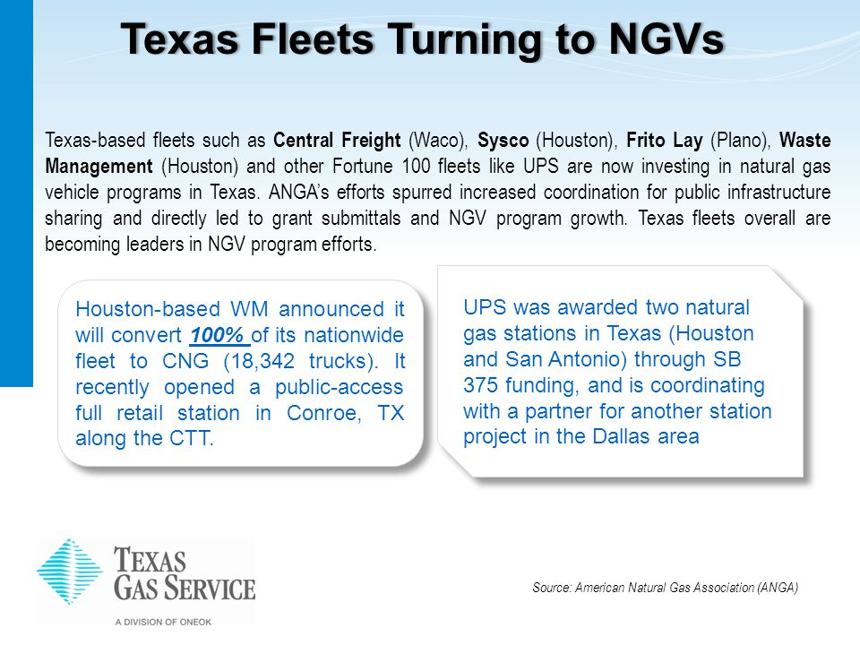 Texas Fleets Turning to NGVsTexas Fleets Turning to NGVs Houston-based WM announced it will convert 100% of its nationwide fleet to CNG (18,342 trucks).