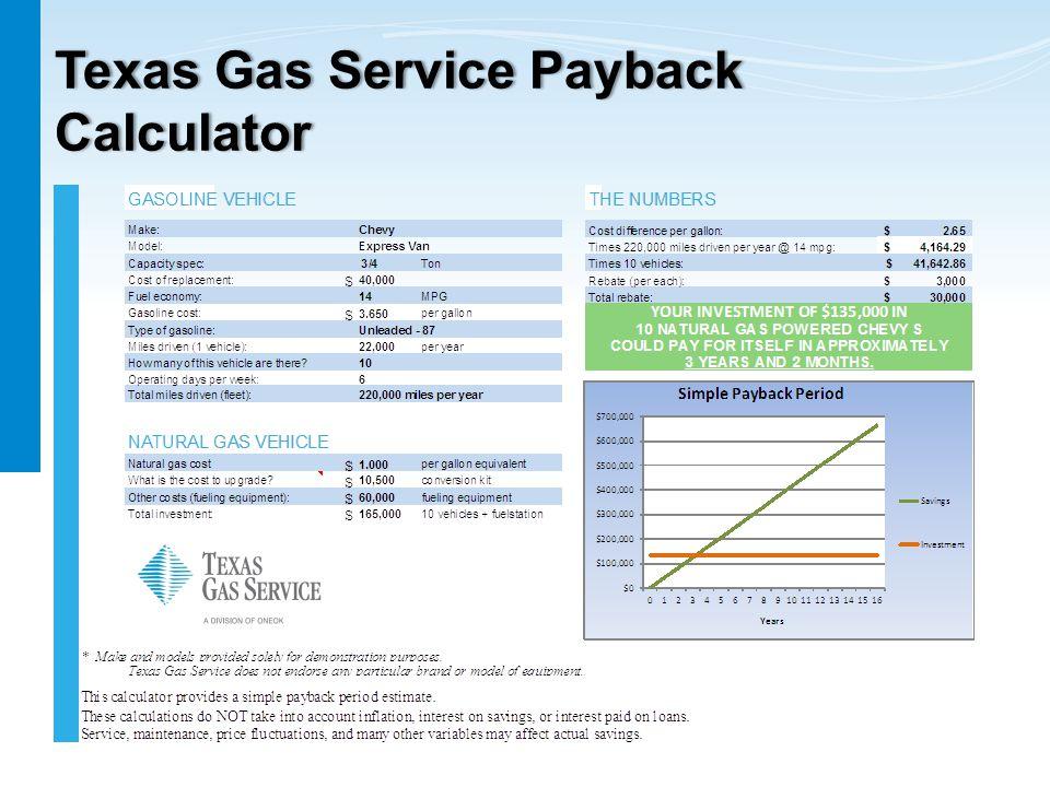 Texas Gas Service Payback Calculator
