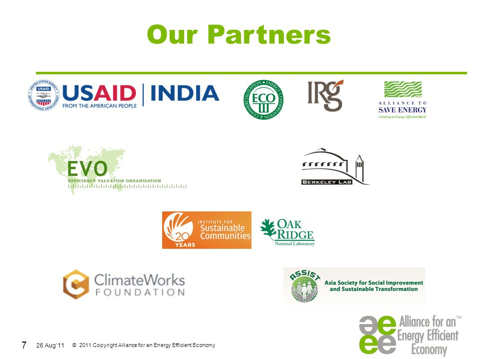 26 Aug'11 © 2011 Copyright Alliance for an Energy Efficient Economy Company-wise Distribution of 65 CMVPs SectorsCompaniesNo-s B E E & Utilities BEE, Tata Power, Reliance Infra, MSEDCL (1 each) 4 Energy Managemt Solutions Schneider-Electric(9), Johnson Controls(2), Honeywell(4) 15 IT Enabled Solutions Cisco Systems(3),Infosys(2), Wipro Eco Energy(2), Intel(2) 9 Investment & Risk Management, CDM Aditya Birla Mngt Services (2) \PWC(2), Darashaw &Co(4), Morgan Stanley Capital Intl(1) 9 Energy Service Consultants SeeTech, AlienEnrgy, Invensys, Custmsd Energy Solutns, SGS India, KLG, UVKA (1 each) 9 Building Services Paharpur BusnsCentre, BlueStar, GreenTree, Spectral/M&V Svs 6 Associations/ NGOs IRG, ASE & AEEE 3 28