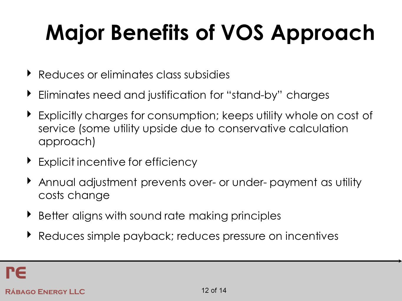 12 of 14 Major Benefits of VOS Approach ‣ Reduces or eliminates class subsidies ‣ Eliminates need and justification for stand-by charges ‣ Explicitly charges for consumption; keeps utility whole on cost of service (some utility upside due to conservative calculation approach) ‣ Explicit incentive for efficiency ‣ Annual adjustment prevents over- or under- payment as utility costs change ‣ Better aligns with sound rate making principles ‣ Reduces simple payback; reduces pressure on incentives