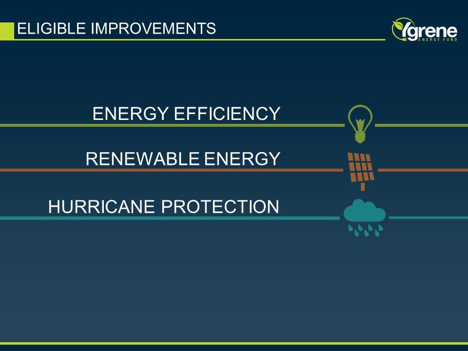 ELIGIBLE IMPROVEMENTS ENERGY EFFICIENCY RENEWABLE ENERGY HURRICANE PROTECTION