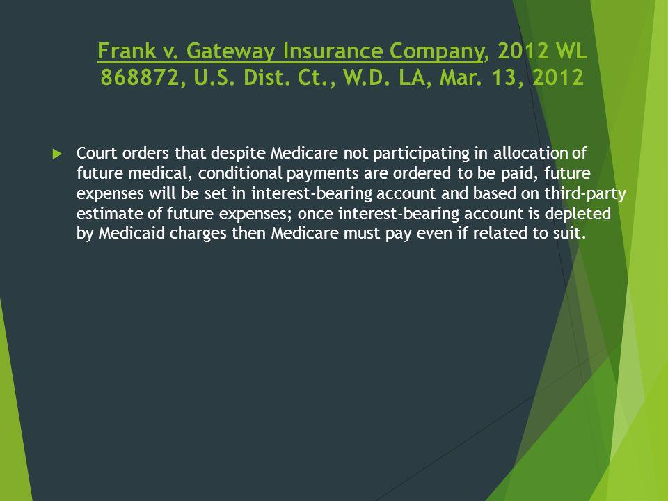 Frank v. Gateway Insurance Company, 2012 WL 868872, U.S. Dist. Ct., W.D. LA, Mar. 13, 2012  Court orders that despite Medicare not participating in a