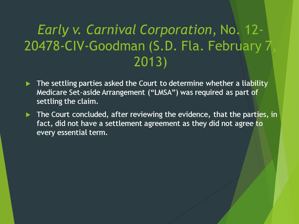 Early v. Carnival Corporation, No. 12- 20478-CIV-Goodman (S.D. Fla. February 7, 2013)  The settling parties asked the Court to determine whether a li
