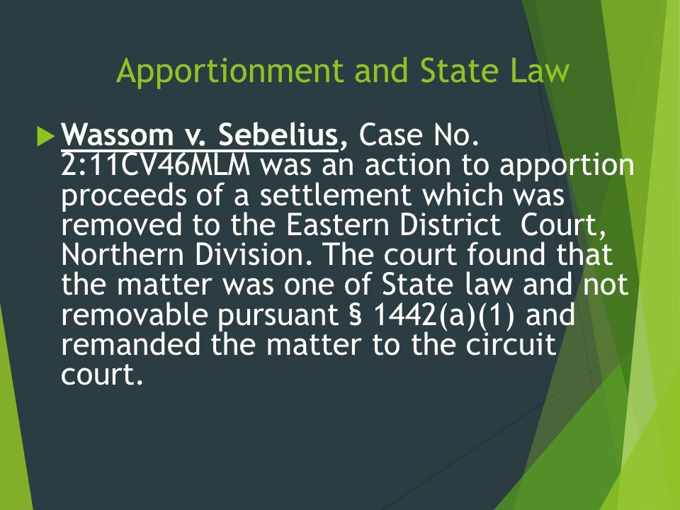 Apportionment and State Law  Wassom v. Sebelius, Case No. 2:11CV46MLM was an action to apportion proceeds of a settlement which was removed to the Ea