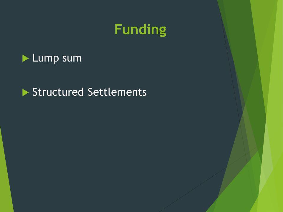 Funding  Lump sum  Structured Settlements