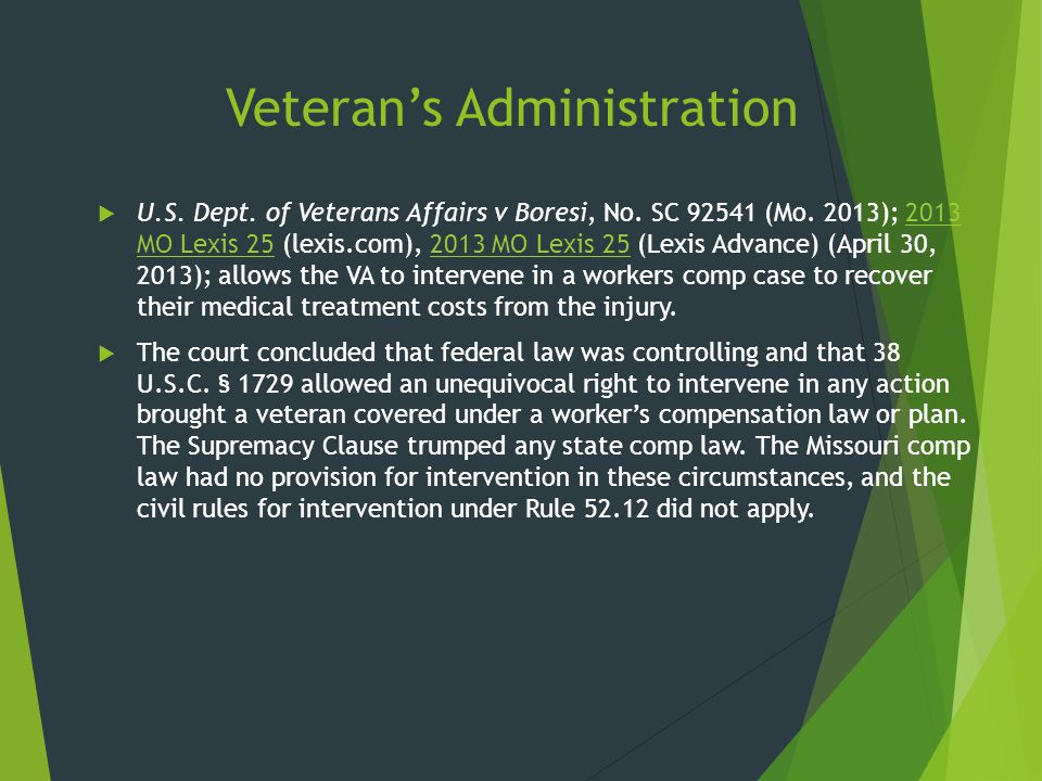 Veteran's Administration  U.S. Dept. of Veterans Affairs v Boresi, No. SC 92541 (Mo. 2013); 2013 MO Lexis 25 (lexis.com), 2013 MO Lexis 25 (Lexis Adv