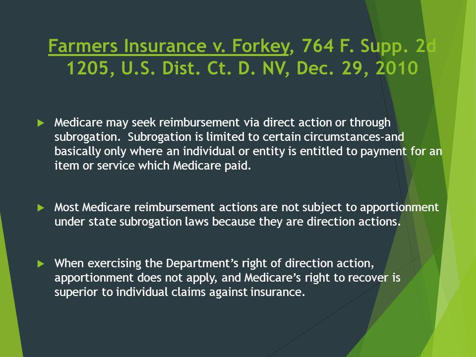 Farmers Insurance v. Forkey, 764 F. Supp. 2d 1205, U.S. Dist. Ct. D. NV, Dec. 29, 2010  Medicare may seek reimbursement via direct action or through