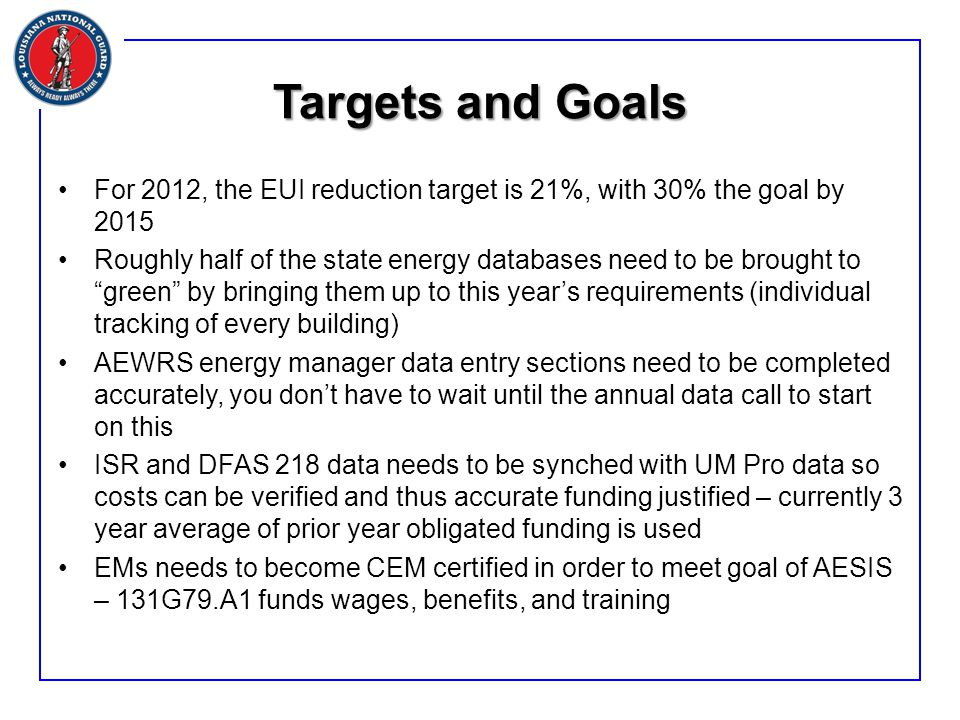 Targets and Goals For 2012, the EUI reduction target is 21%, with 30% the goal by 2015 Roughly half of the state energy databases need to be brought to green by bringing them up to this year's requirements (individual tracking of every building) AEWRS energy manager data entry sections need to be completed accurately, you don't have to wait until the annual data call to start on this ISR and DFAS 218 data needs to be synched with UM Pro data so costs can be verified and thus accurate funding justified – currently 3 year average of prior year obligated funding is used EMs needs to become CEM certified in order to meet goal of AESIS – 131G79.A1 funds wages, benefits, and training