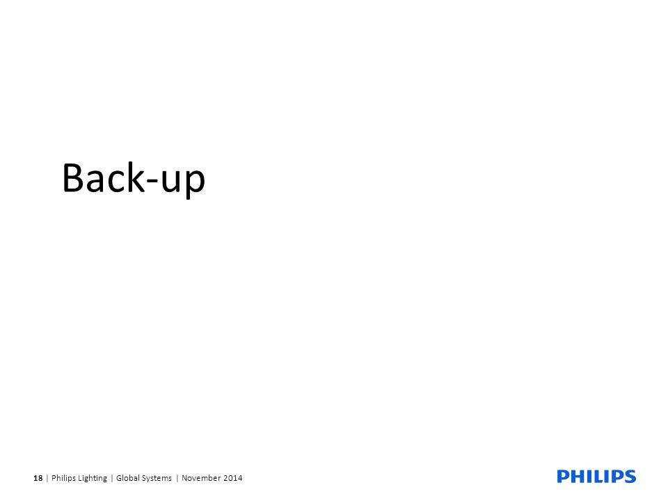 18 | Philips Lighting | Global Systems | November 2014 Back-up