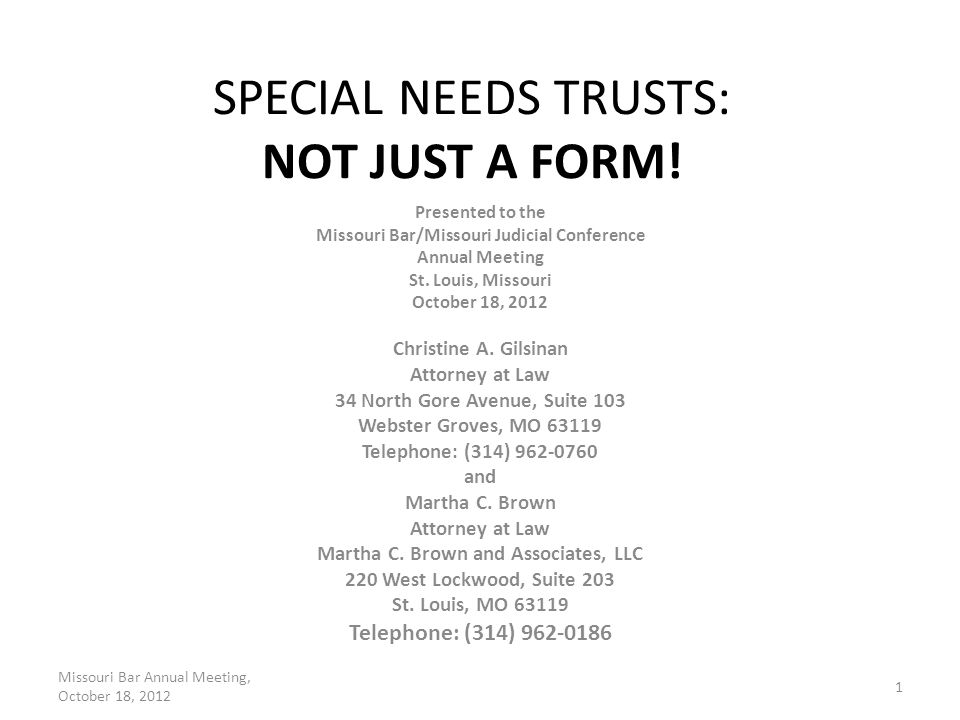 Example 1 Text After the death of the primary beneficiary, the residuary shall be paid, free from trust, to the Treasury of the United States. Missouri Bar Annual Meeting, October 18, 2012 2