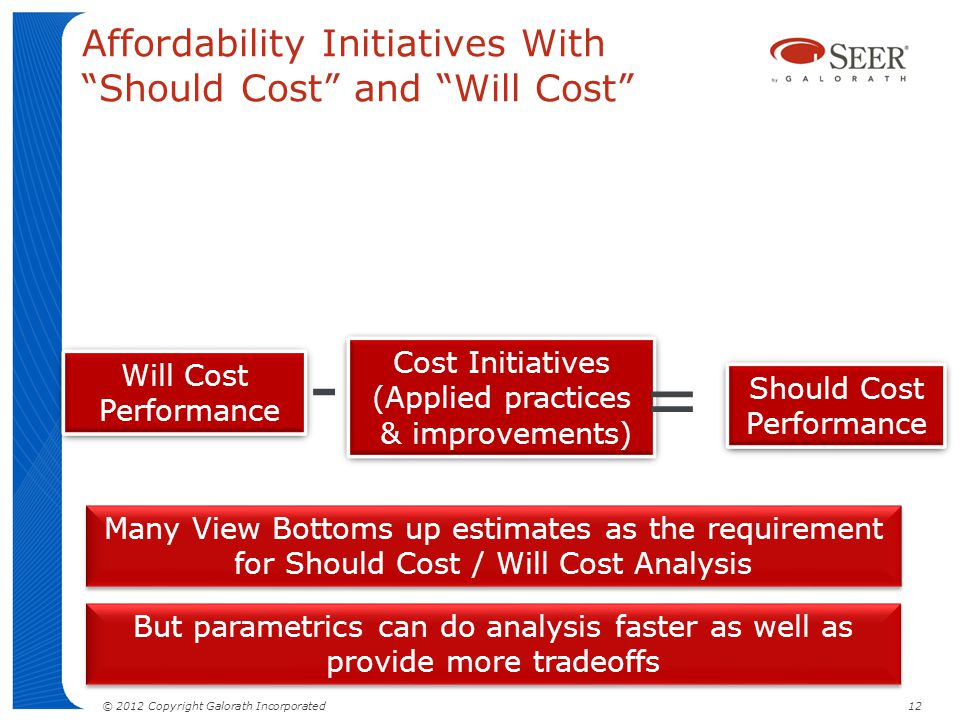 Affordability Initiatives With Should Cost and Will Cost Should Cost Performance Cost Initiatives (Applied practices & improvements) Cost Initiatives (Applied practices & improvements) Will Cost Performance Will Cost Performance - = © 2012 Copyright Galorath Incorporated 12 Many View Bottoms up estimates as the requirement for Should Cost / Will Cost Analysis But parametrics can do analysis faster as well as provide more tradeoffs