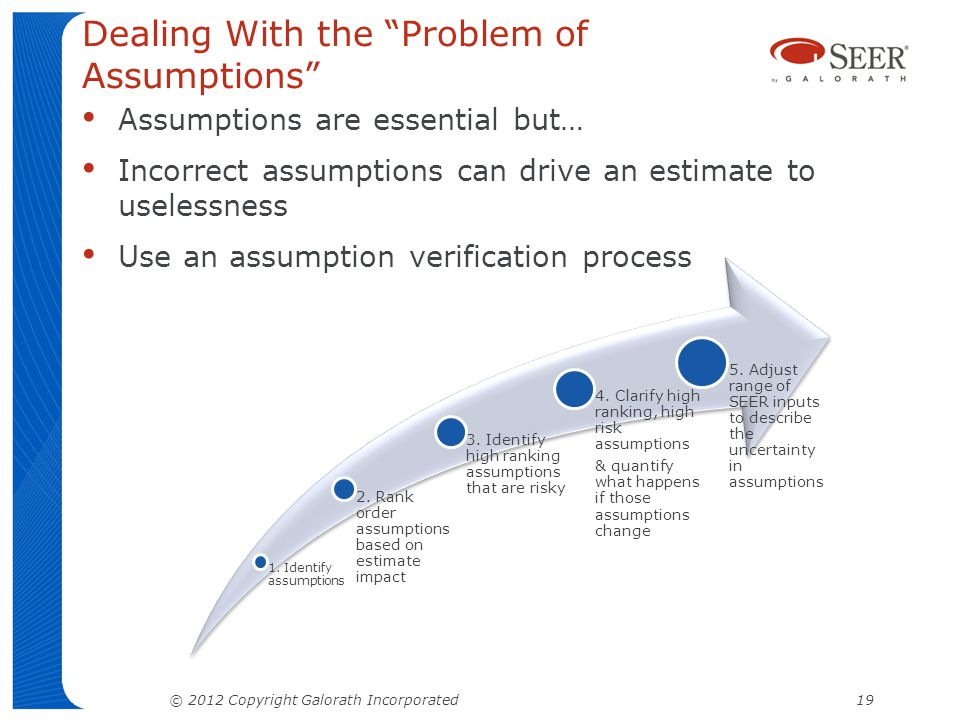 Dealing With the Problem of Assumptions Assumptions are essential but… Incorrect assumptions can drive an estimate to uselessness Use an assumption verification process © 2012 Copyright Galorath Incorporated 19 1.