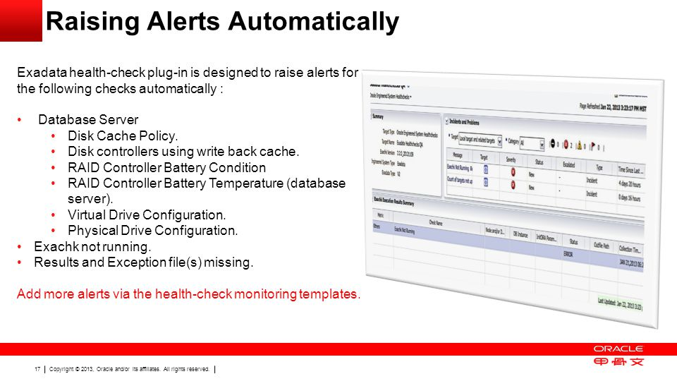 Copyright © 2013, Oracle and/or its affiliates. All rights reserved. 17 Raising Alerts Automatically Exadata health-check plug-in is designed to raise