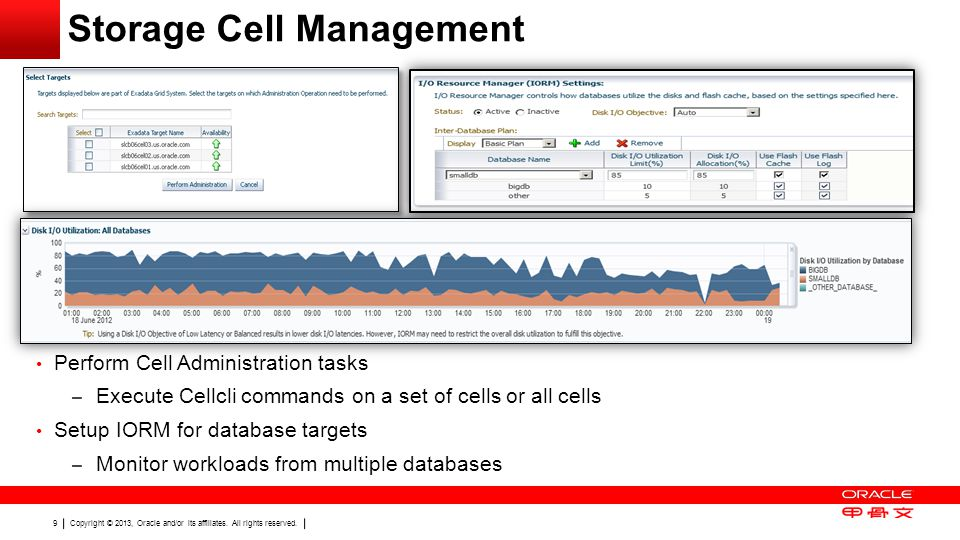 Copyright © 2013, Oracle and/or its affiliates. All rights reserved. 9 Storage Cell Management Perform Cell Administration tasks – Execute Cellcli com