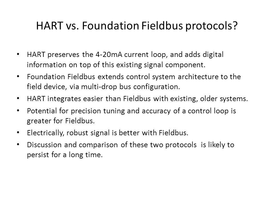 HART vs. Foundation Fieldbus protocols.