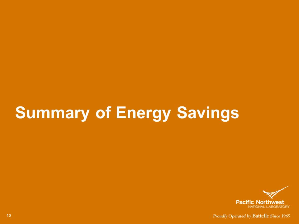 Summary of Energy Savings 10