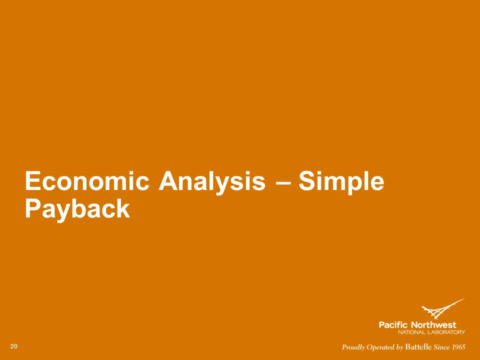 Economic Analysis – Simple Payback 20