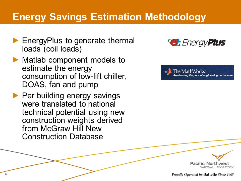 EnergyPlus to generate thermal loads (coil loads) Matlab component models to estimate the energy consumption of low-lift chiller, DOAS, fan and pump Per building energy savings were translated to national technical potential using new construction weights derived from McGraw Hill New Construction Database 6