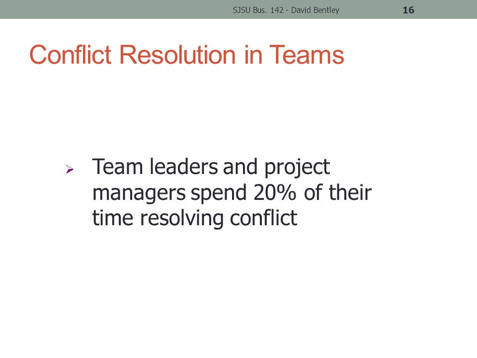Conflict Resolution in Teams SJSU Bus.