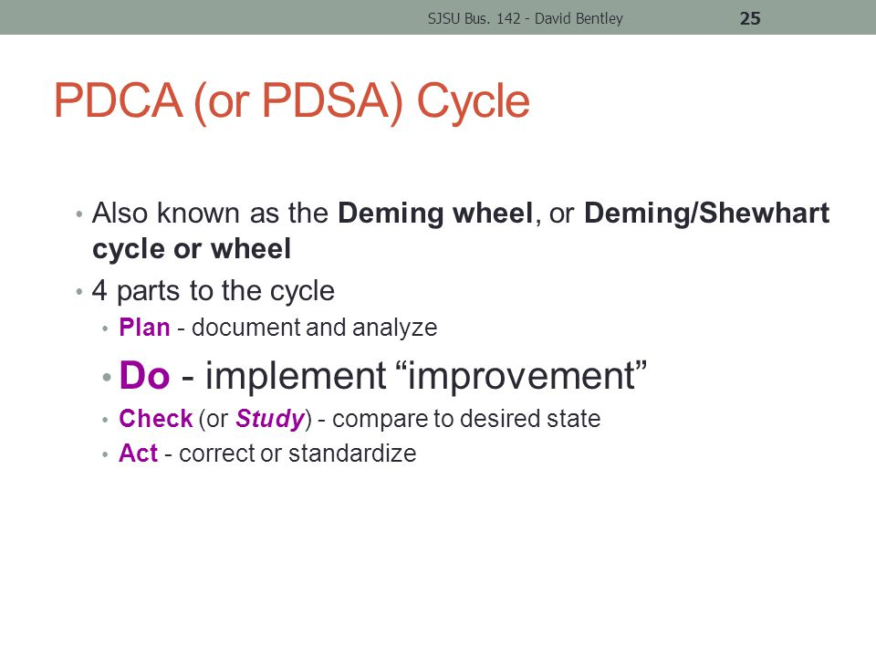 PDCA (or PDSA) Cycle Also known as the Deming wheel, or Deming/Shewhart cycle or wheel 4 parts to the cycle Plan - document and analyze Do - implement improvement Check (or Study) - compare to desired state Act - correct or standardize SJSU Bus.