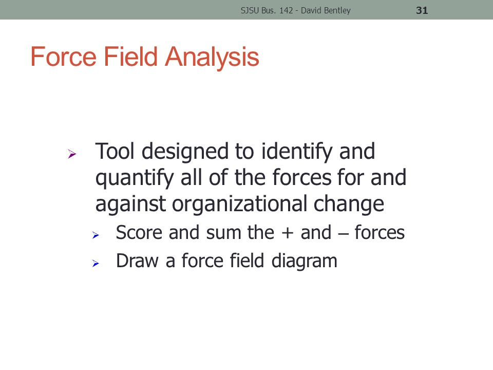 Force Field Analysis SJSU Bus.