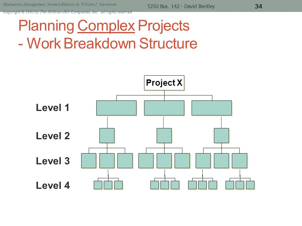 Planning Complex Projects - Work Breakdown Structure SJSU Bus.