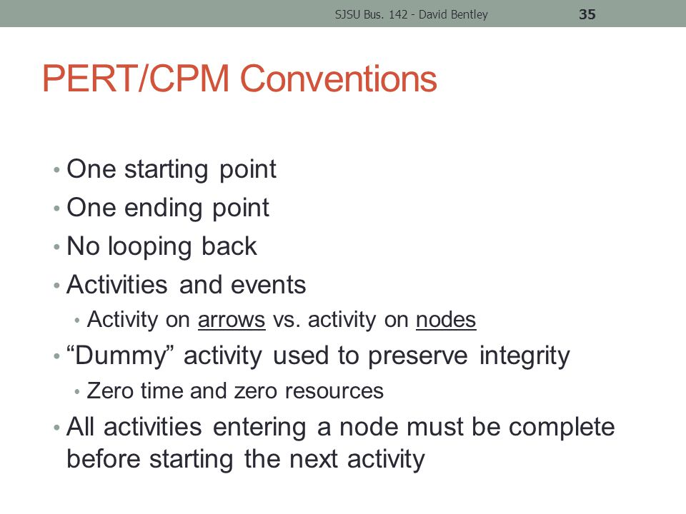 PERT/CPM Conventions One starting point One ending point No looping back Activities and events Activity on arrows vs.
