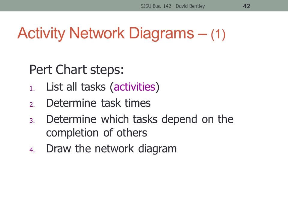 Activity Network Diagrams – (1) SJSU Bus. 142 - David Bentley 42 Pert Chart steps: 1.