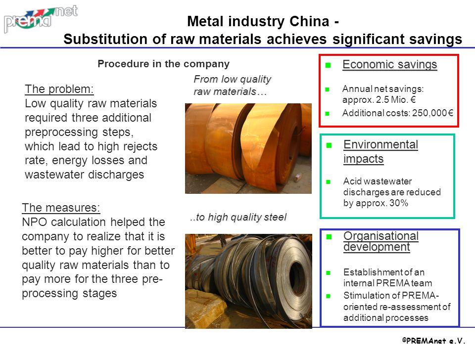 © PREMAnet e.V. Economic savings Economic savings Annual net savings: approx. 2.5 Mio. € Additional costs: 250,000 € Procedure in the company Metal in