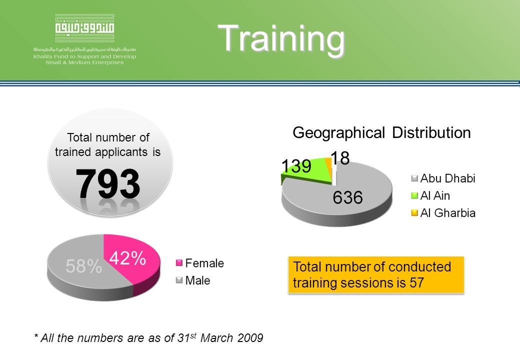 Training * All the numbers are as of 31 st March 2009 Geographical Distribution 139 18 Total number of conducted training sessions is 57 42% 58%