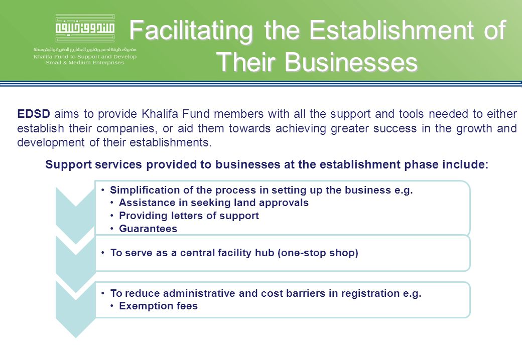 Facilitating the Establishment of Their Businesses EDSD aims to provide Khalifa Fund members with all the support and tools needed to either establish