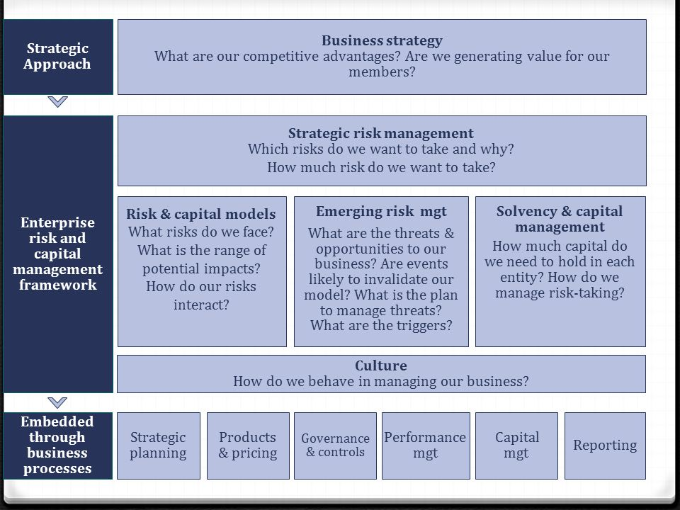 Strategic risk management Which risks do we want to take and why.